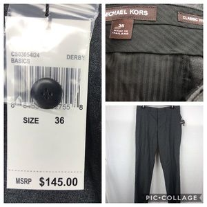 Michael Kors Unhemmed gray wool blend dress pants